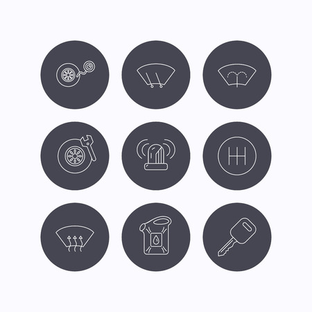 transmission: Manual gearbox, tire service and car key icons. Siren alarm, jerrycan and wheel pressure linear signs. Window washing, wiper and heated icons. Flat icons in circle buttons on white background. Vector