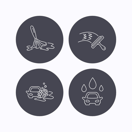washing windows: Car wash icons. Automatic cleaning station linear signs. Washing windows, wet cleaning and foam bucket flat line icons. Flat icons in circle buttons on white background. Vector Illustration