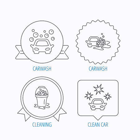 wet cleaning: Car wash icons. Automatic cleaning station linear signs. Wet cleaning and foam bucket flat line icons. Award medal, star label and speech bubble designs. Vector Illustration