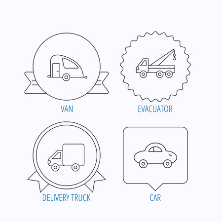 travel star: Car, delivery truck and evacuator icons. Travel van linear signs. Award medal, star label and speech bubble designs. Vector Illustration