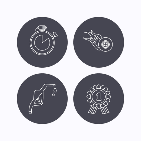 race winner: Winner award, petrol station and speed icons. Race timer linear sign. Flat icons in circle buttons on white background. Vector
