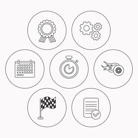 race winner: Race flag, winner medal and timer icons. Wheel on fire linear sign. Check file, calendar and cogwheel icons. Vector