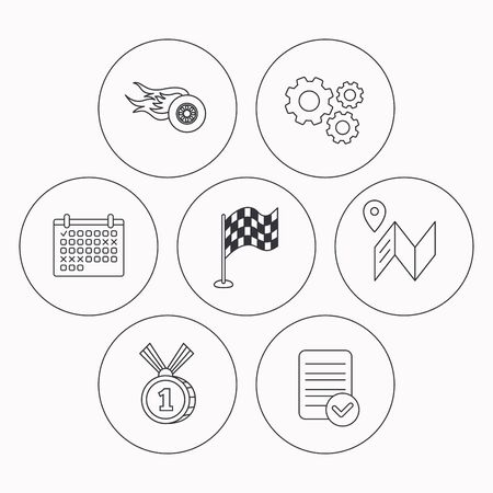 race winner: Race flag, map and winner award icons. First place medal, wheel on fire linear signs. Check file, calendar and cogwheel icons. Vector Illustration