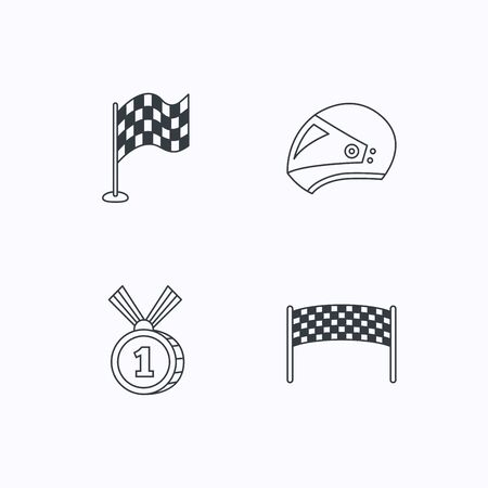 race winner: Race flag, checkpoint and motorcycle helmet icons. Winner award medal linear signs. Flat linear icons on white background. Vector Illustration