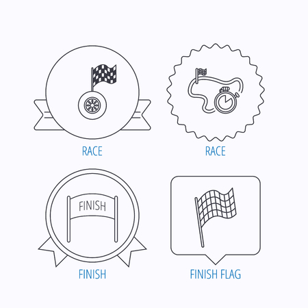 finish flag: Finish flag, race timer and wheel icons. Race track linear sign. Award medal, star label and speech bubble designs. Vector
