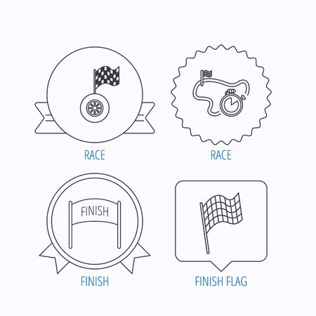 bandera carreras: Terminar bandera, temporizador de carrera y los iconos de las ruedas. pista de carreras señal lineal. Medalla de la concesión, la etiqueta estrella y diseños de bocadillo. Vector