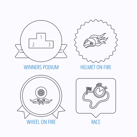 race winner: Winner podium, race timer and wheel on fire icons. Motorcycle helmet on fire linear sign. Award medal, star label and speech bubble designs. Vector Illustration