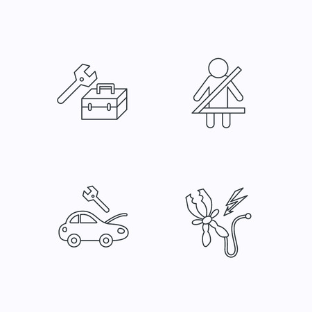 to fasten: Repair, battery terminal and car service icons. Fasten seat belt linear sign. Flat linear icons on white background. Vector