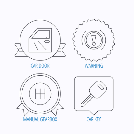gearbox: Car key, warning and manual gearbox icons. Car door, transmission linear signs. Award medal, star label and speech bubble designs. Vector