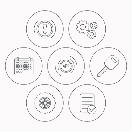 abs: Car key, abs and wheel icons. Warning ABS, attention linear signs. Check file, calendar and cogwheel icons. Vector Illustration