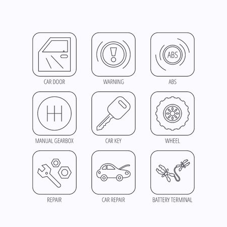 abs: Car key, repair tools and manual gearbox icons. Wheel, warning ABS and battery terminal linear signs. Flat linear icons in squares on white background. Vector
