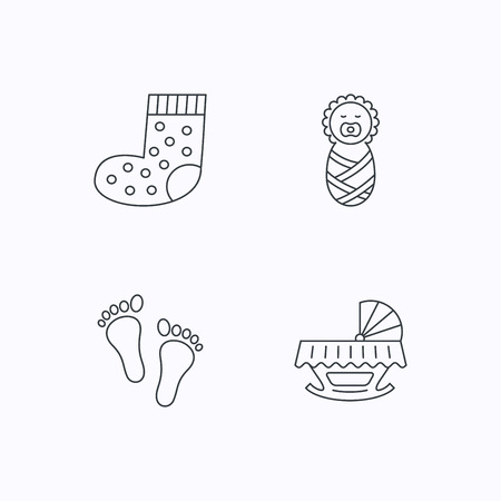 newborn footprint: Footprint, cradle and newborn baby icons. Socks linear sign. Flat linear icons on white background. Vector
