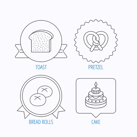bread rolls: Cake, pretzel and bread rolls icons. Toast linear sign. Award medal, star label and speech bubble designs. Vector