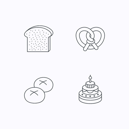 bread rolls: Cake, pretzel and bread rolls icons. Toast linear sign. Flat linear icons on white background. Vector