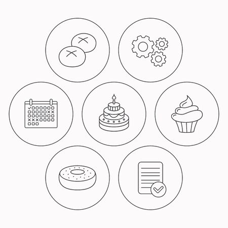 bread rolls: Cupcake, cake and bread rolls icons. Sweet donut linear sign. Check file, calendar and cogwheel icons. Vector