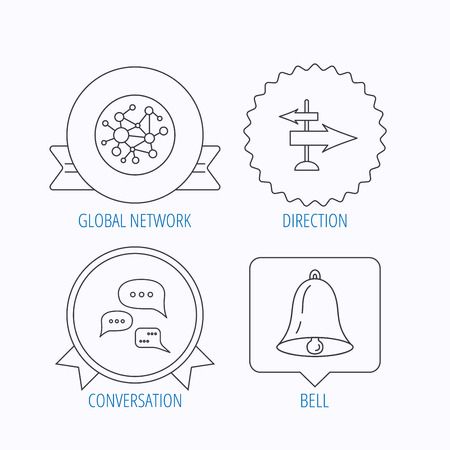 global direction: Conversation, global network and direction icons. Bell alarm signal linear sign. Award medal, star label and speech bubble designs. Vector