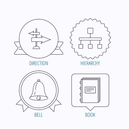 hierarchy: Book, hierarchy and direction arrows icons. Alarm bell linear sign. Award medal, star label and speech bubble designs. Vector