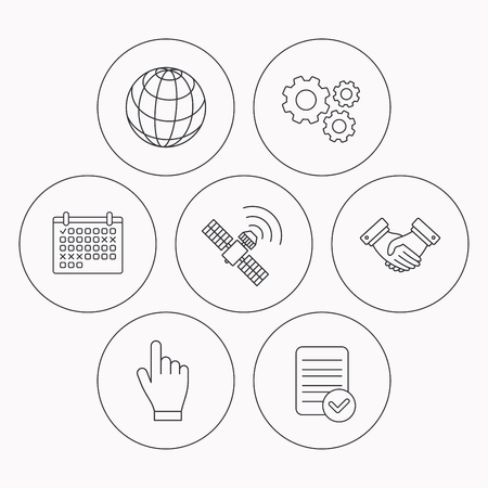 Handshake, globe and gps satellite icons. Hand linear sign. Check file, calendar and cogwheel icons. Vector Vektorové ilustrace