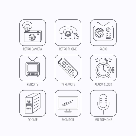 pc case: Retro camera, radio and phone call icons. Monitor, PC case and microphone linear signs. TV remote, alarm clock icons. Flat linear icons in squares on white background. Vector