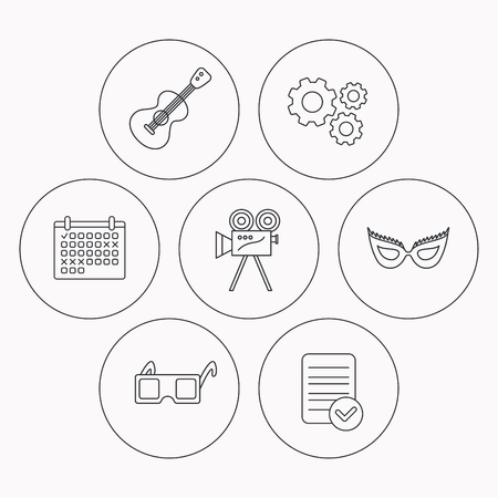 theatre mask: Guitar music, video camera and theatre mask icons. 3d glasses linear sign. Check file, calendar and cogwheel icons. Vector Illustration