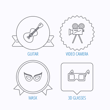 theatre mask: Guitar music, video camera and theatre mask icons. 3d glasses linear sign. Award medal, star label and speech bubble designs. Vector Illustration