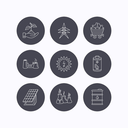 solar collector: Solar collector energy, battery and oil barrel icons. Minerals, electricity station and factory linear signs. Industries, save nature icons. Flat icons in circle buttons on white background. Vector