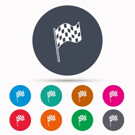finish flag: Finish flag icon. Start race sign. Icons in colour circle buttons. Vector Illustration