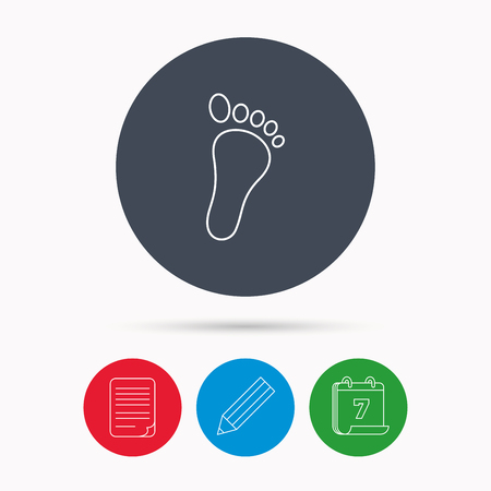foot step: Baby footprint icon. Child foot sign. Newborn step symbol. Calendar, pencil or edit and document file signs. Vector