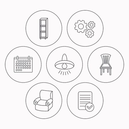 shelving: Chair, ceiling lamp and armchair icons. Shelving linear sign. Check file, calendar and cogwheel icons. Vector Illustration