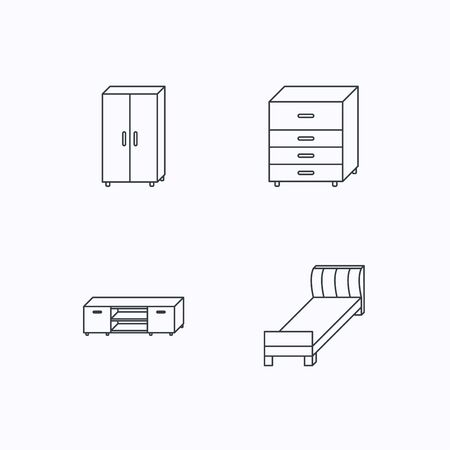 chest of drawers: Single bed, TV table and cupboard icons. Chest of drawers linear sign. Flat linear icons on white background. Vector