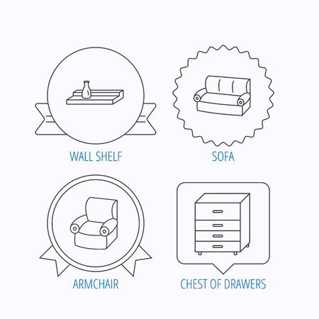 chest wall: Sofa, wall shelf and armchair icons. Chest of drawers linear sign. Award medal, star label and speech bubble designs. Vector Illustration