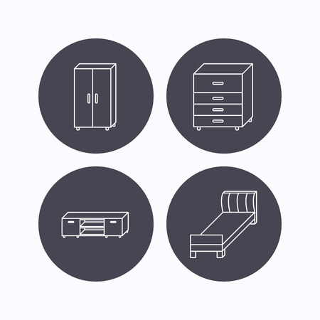 drawers: Single bed, TV table and cupboard icons. Chest of drawers linear sign. Flat icons in circle buttons on white background. Vector Illustration