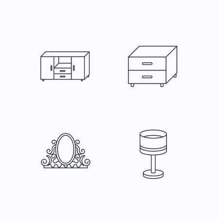 chest of drawers: Vintage mirror, table lamp and nightstand icons. Chest of drawers linear sign. Flat linear icons on white background. Vector