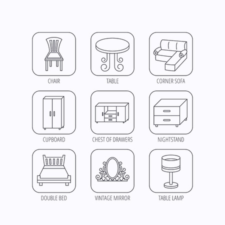 thin bulb: Corner sofa, table and cupboard icons. Chair, lamp and nightstand linear signs. Vintage mirror, double bed and chest of drawers icons. Flat linear icons in squares on white background. Vector Illustration