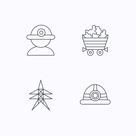 searcher: Worker, minerals and engineering helm icons. Electricity station linear sign. Flat linear icons on white background. Vector
