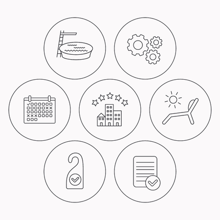 5 door: Hotel, swimming pool and beach deck chair icons. Clean room linear sign. Check file, calendar and cogwheel icons. Vector