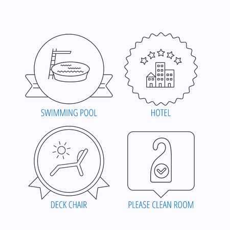 5 door: Hotel, swimming pool and beach deck chair icons. Clean room linear sign. Award medal, star label and speech bubble designs. Vector