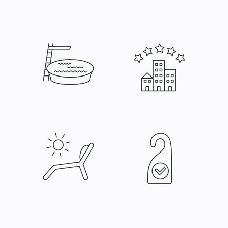 pool room: Hotel, swimming pool and beach deck chair icons. Clean room linear sign. Flat linear icons on white background. Vector