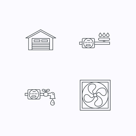 ventilation: Ventilation, garage and water counter icons. Gas counter linear sign. Flat linear icons on white background. Vector Illustration