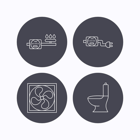 sewerage: Ventilation, toilet and gas counter icons. Electricity counter linear sign. Flat icons in circle buttons on white background. Vector Illustration