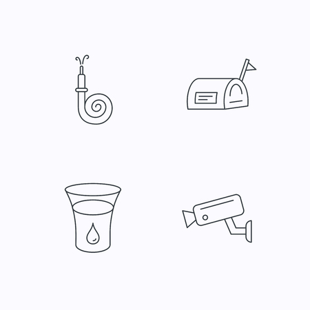 Mailbox, video monitoring and fire hose icons. Glass of water linear sign. Flat linear icons on white background. Vector Illustration