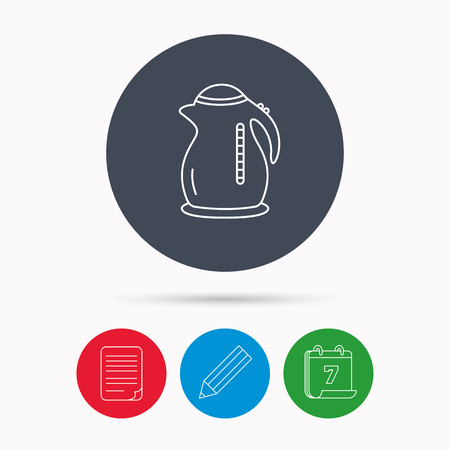 document file: Kettle icon. Kitchen teapot sign. Calendar, pencil or edit and document file signs. Vector Illustration