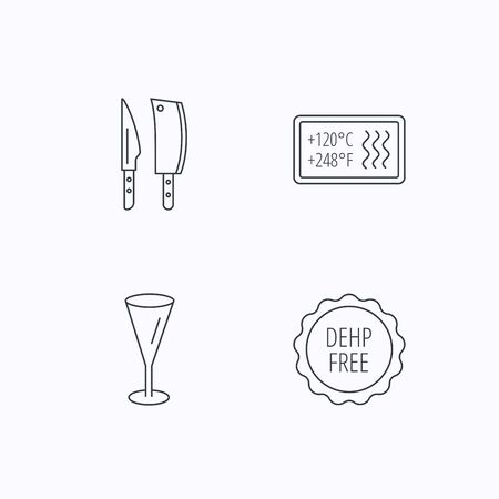 resistant: Kitchen knives, glass and heat-resistant icons. DEHP free linear sign. Flat linear icons on white background. Vector