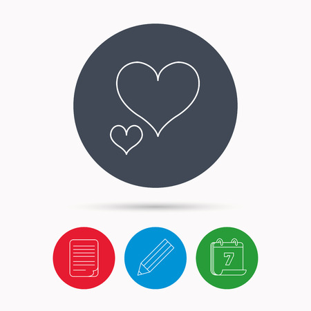 edit valentine: Love hearts icon. Lovers sign. Couple relationships. Calendar, pencil or edit and document file signs. Vector