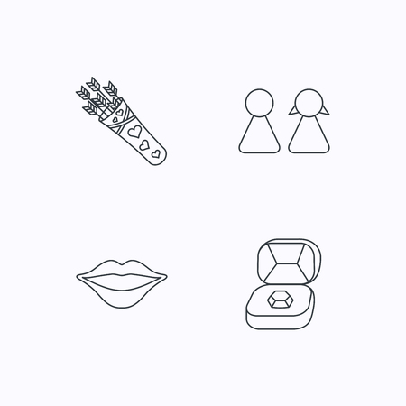 kiss lips: Couple, kiss lips and jewelry icons. Valentine amour arrows linear sign. Flat linear icons on white background. Vector Illustration