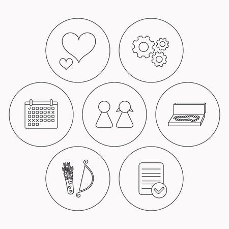 amour: Love heart, jewelry and couple icons. Valentine amour arrows linear signs. Check file, calendar and cogwheel icons. Vector Illustration