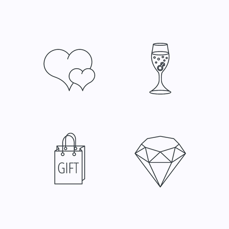 shopping champagne: Love heart, gift box and wedding ring icons. Brilliant and engagement linear signs. Flat linear icons on white background. Vector Illustration