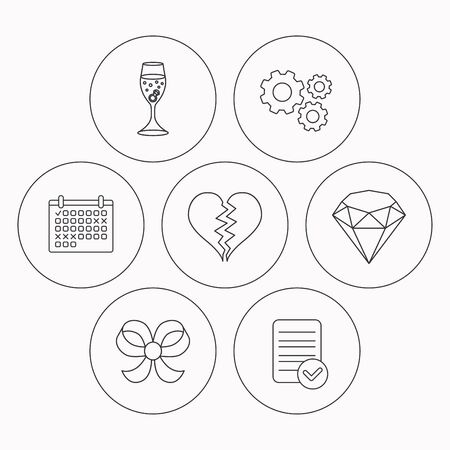 ring file: Broken heart, brilliant and engagement ring icons. Bow-knot linear sign. Check file, calendar and cogwheel icons. Vector Illustration