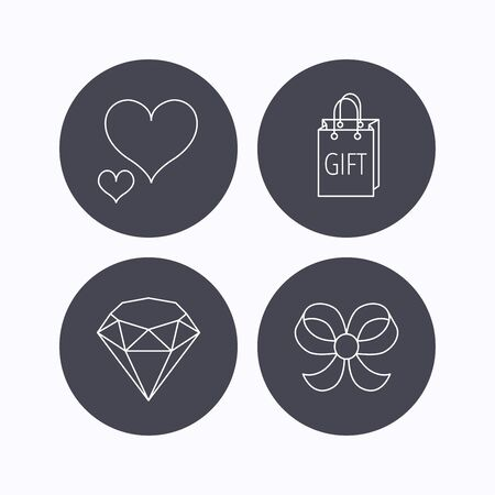 brilliant heart: Love heart, gift bag and brilliant icons. Bow-knot linear sign. Flat icons in circle buttons on white background. Vector