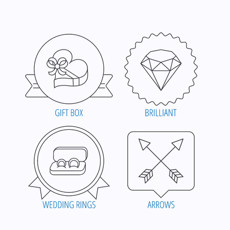 brilliant: Brilliant, gift box and wedding rings icons. Arrows linear signs. Award medal, star label and speech bubble designs. Vector